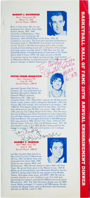 1987 Pete Maravich and Others Signed Naismith Hall of Fame Enshrinement Dinner Program