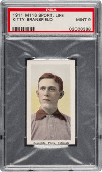 1910-11 M116 Sporting Life Kitty Bransfield PSA Mint 9 - Pop One, None Higher