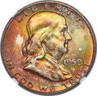 1958-D 50C MS67★ Full Bell Lines NGC. NGC Census: (42/0 and 7/0*). PCGS Population: (107/0 and 7/0*). CDN: $750 Whsle. B...