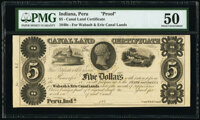 Peru, IN- Canal Land Certificate $5 184_ Wolka 658-3 Proof PMG About Uncirculated 50