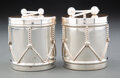 Silver & Vertu, A Near Pair of Cartier Drum-Form Silver Canisters, New York, 20th century . Marks: CARTIER, STERLING, 834. 3-7/8 x 3 inc... (Total: 2 )