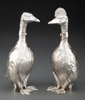 Silver & Vertu, A Pair of Spanish Goose-Form Silver Decanters, post-1934. Marks to each: (five-point star), (maker's mark). 7-3/4 inches (19... (Total: 2 )