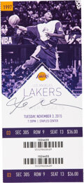 Basketball Collectibles:Others, 2015 Kobe Bryant Signed Full Ticket....