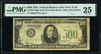 Fr. 2201-B $500 1934 Dark Green Seal Federal Reserve Note. PMG Very Fine 25