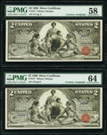 Large Size:Silver Certificates, D(aniel) N. Morgan Courtesy Autographed Cut Sheet of Four Fr. 247 $2 1896 Silver Certificates PMG Choice Uncirculated 64 (3); ... (Total: 4 notes)