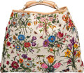 """Luxury Accessories:Bags, Gucci by Tom Ford Limited Edition White Canvas & Multicolor Beaded Flora Shoulder Bag. Condition: 2. 19"""" Width x 15"""" H..."""