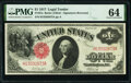 Large Size:Legal Tender Notes, Fr. 37a $1 1917 Legal Tender PMG Choice Uncirculated 64.. ...