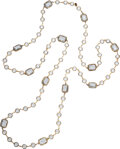 """Luxury Accessories:Accessories, Chanel Clear Gripoix Sautoir Necklace. Condition: 4. 0.75"""" Width x 64"""" Length. ..."""