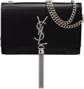 """Luxury Accessories:Bags, Saint Laurent Black Grained Leather Kate Tassel Bag. Condition: 1 . 8"""" Width x 5"""" Height x 2"""" Depth..."""