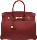 """Luxury Accessories:Bags, Hermès 35cm Rouge H Clemence Leather Birkin Bag with Gold Hardware. T, 2016. Condition: 3. 14"""" Width x 10"""" Height ..."""