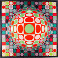 """Luxury Accessories:Home, Victor Vasarely Limited Edition """"Vega MC Positive"""" Optical Illusion Framed Silk Scarf, Signed and Numbered . Condition: 2..."""
