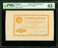 Bahamas Bank of Nassau 5 Shillings ND (ca. 1870) Pick A1cts Color Trial Specimen PMG Choice Uncirculated 63 EPQ