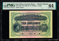 World Currency, East Africa East African Currency Board 10 Shillings ND (1938-52) Pick 29p1 Front Proof PMG Choice Uncirculated 64.. ...