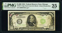 Fr. 2211-G $1,000 1934 Dark Green Seal Federal Reserve Note. PMG Very Fine 25