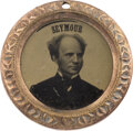 Political:Ferrotypes / Photo Badges (pre-1896), Horatio Seymour: Unusual Back-to-Back Ferrotype....