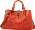 "Luxury Accessories:Bags, Bottega Veneta Rust Orange Crocodile Small Roma Bag. Condition: 4. 13"" Width x 7"" Height x 6"" Depth..."