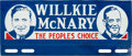 Political:3D & Other Display (1896-present), Willkie & McNary: Rare Jugate License Plate....