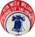 Political:Pinback Buttons (1896-present), Wendell Willkie: Rare Liberty Bell Slogan Pin....