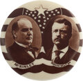 Political:Pinback Buttons (1896-present), McKinley & Roosevelt: Billowing Star-Spangled Banner Real Photo Jugate. ...