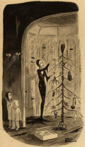 """Paintings, Charles Addams (American, 1912-1988). The Addam's Family Christmas,"""" Addams and Evil interior book cartoon, 1947. ..."""