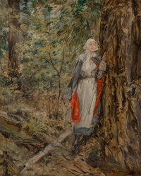 Attributed to Howard Chandler Christy (American, 1872-1952) Caroline in the Woods Oil on canvas 30 x 24 inches (76.2