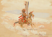 Edward Borein (American, 1872-1945) Indian on horseback and Mounted Indian warrior (two work