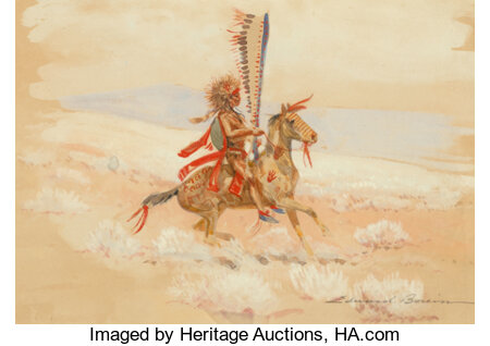 Edward Borein (American, 1872-1945) Indian on Horseback and Mounted Indian Warrior (two works) Watercolor on paper... (Total: 2 Items)