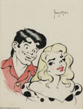 Original Comic Art:Splash Pages, Frank Frazetta - Li'l Abner and Daisy Mae Watercolor Original Art(circa 1950s). This watercolor painting depicts the two ke...