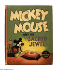 Platinum Age (1897-1937):Miscellaneous, Mickey Mouse and the Sacred Jewel Big Little Book #1187 (Whitman,1936) Condition: VF. Mickey needs sunglasses to gaze at th...