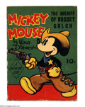 Golden Age (1938-1955):Cartoon Character, Mickey Mouse the Sheriff of Nugget Gulch Fast Action #nn (Whitman,1938) Condition: FN. Mickey's got his gun drawn but still...