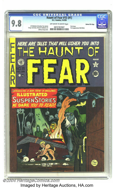 Haunt of Fear #15 (#1) Gaines File pedigree 2/11 (EC, 1950) CGC NM/MT 9.8 Off-white to white pages. The first issue of one o...