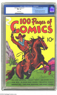 100 Pages of Comics #1 (Dell, 1937) CGC NM- 9.2 Off-white pages. The square binding and stiff covers would normally prec...