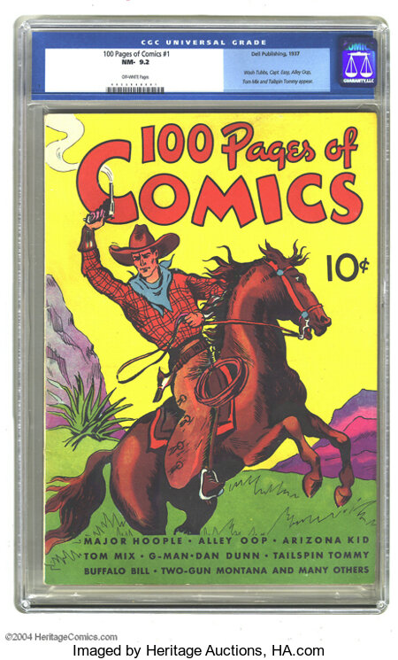 100 Pages of Comics #1 (Dell, 1937) CGC NM- 9.2 Off-white pages. The square binding and stiff covers would normally preclude...