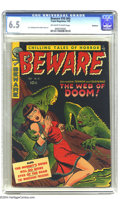 Golden Age (1938-1955):Horror, Beware #16 (#4) Bethlehem pedigree (Trojan/Prime, 1953) CGC FN+ 6.5Off-white to white pages. A. C. Hollingsworth art. A cer...