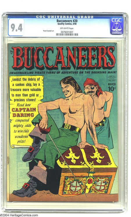 Buccaneers #20 (Quality, 1950) CGC NM 9.4 Off-white pages. Avast, ye lubbers! If seeing the Jolly Roger warms your heart, ha...
