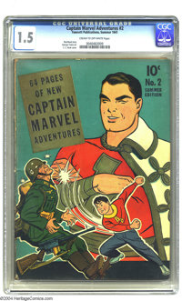 Captain Marvel Adventures #2 (Fawcett, 1941) CGC FR/GD 1.5 Cream to off-white pages. C. C. Beck cover. George Tuska art...