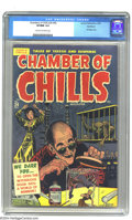 Golden Age (1938-1955):Horror, Chamber of Chills #24 (#4) Northford pedigree (Harvey, 1951) CGCVF/NM 9.0 Cream to off-white pages. This startling cover by...