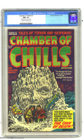 "Golden Age (1938-1955):Horror, Chamber of Chills #10 (Harvey, 1952) CGC NM- 9.2 Cream to off-whitepages. ""The Cave of Death"" comes to life on this Lee Eli..."
