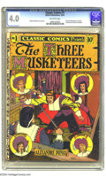 Golden Age (1938-1955):Classics Illustrated, Classic Comics #1 The Three Musketeers -- First Edition (Gilberton,1941) CGC VG 4.0 Off-white pages. It's no wonder the pri...