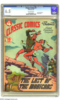 Golden Age (1938-1955):Classics Illustrated, Classic Comics #4 The Last of the Mohicans -- First Edition(Gilberton, 1942) CGC FN+ 6.5 Off-white pages. This is the origi...