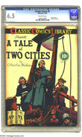 Golden Age (1938-1955):Classics Illustrated, Classic Comics #6 A Tale of Two Cities -- First Edition (Gilberton,1942) CGC FN+ 6.5 Off-white pages. It is a far, far bett...