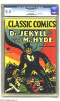 Golden Age (1938-1955):Miscellaneous, Classic Comics #13 Dr. Jekyll and Mr. Hyde -- First Edition (Gilberton, 1943) CGC VF 8.0 Cream to off-white pages. The first...