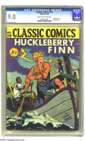 "Golden Age (1938-1955):Classics Illustrated, Classic Comics #19 Huckleberry Finn -- First Edition (Gilberton, 1944) CGC VF/NM 9.0 Cream to off-white pages. If you hear ""..."