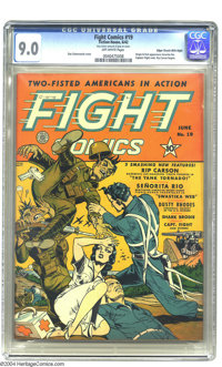 Fight Comics #19 Mile High pedigree (Fiction House, 1942) CGC VF/NM 9.0 Off-white pages. Edgar Church scores again! This...