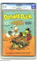 Golden Age (1938-1955):Funny Animal, Four Color #9 Donald Duck Finds Pirate Gold (Dell, 1942) CGC FN-5.5 Light tan to off-white pages. Carl Barks does Donald Du...