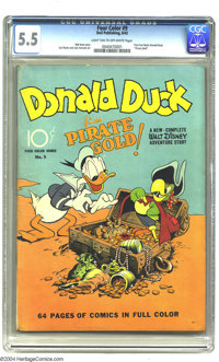 Four Color #9 Donald Duck Finds Pirate Gold (Dell, 1942) CGC FN- 5.5 Light tan to off-white pages. Carl Barks does Donal...