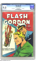 Golden Age (1938-1955):Science Fiction, Four Color #10 Flash Gordon (Dell, 1942) CGC VF/NM 9.0 Off-white towhite pages. This fabulous copy rockets to the number tw...