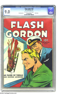 Four Color #10 Flash Gordon (Dell, 1942) CGC VF/NM 9.0 Off-white to white pages. This fabulous copy rockets to the numbe...