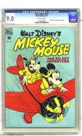 Golden Age (1938-1955):Adventure, Four Color #214 Mickey Mouse and his Sky Adventure (Dell, 1949) CGCVF/NM 9.0 Off-white pages. Goofy appearance. As of this ...
