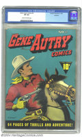 Golden Age (1938-1955):Western, Gene Autry Comics #2 Rockford pedigree (Fawcett, 1942) CGC VF 8.0Cream to off-white pages. This vivid cover by Till Goodan ...